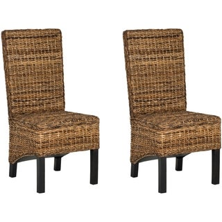 Safavieh Dining Rural Woven Pembrooke Natural Wicker Dining Chairs (Set of 2)