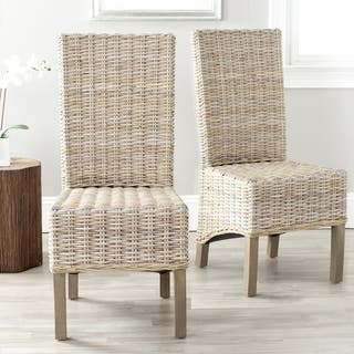 Safavieh Rural Woven Dining Pembrooke Unfinished Natural Wicker Dining  Chairs  Set of 2. Wicker Dining Room   Kitchen Chairs For Less   Overstock com