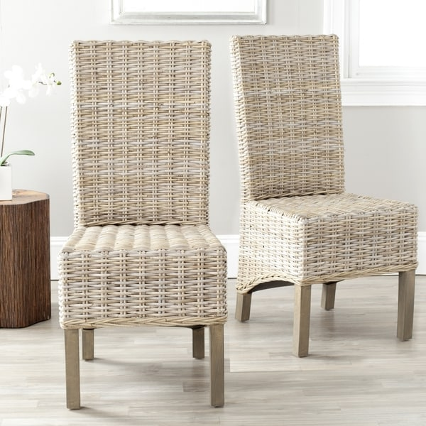 Safavieh Rural Woven Dining Pembrooke Unfinished Natural Wicker Dining Chairs (Set of 2)