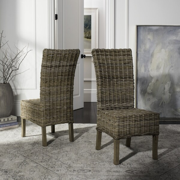 safavieh rural woven dining quaker unfinished natural wicker dining chairs set of 2