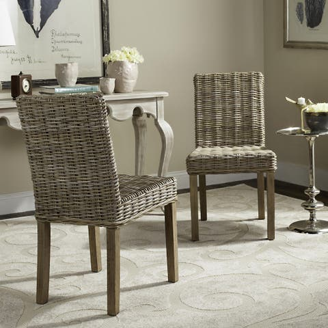 """SAFAVIEH Rural Woven Dining Grove Unfinished Natural Wicker Dining Chairs (Set of 2) - 19"""" x 22.5"""" x 34.5"""""""