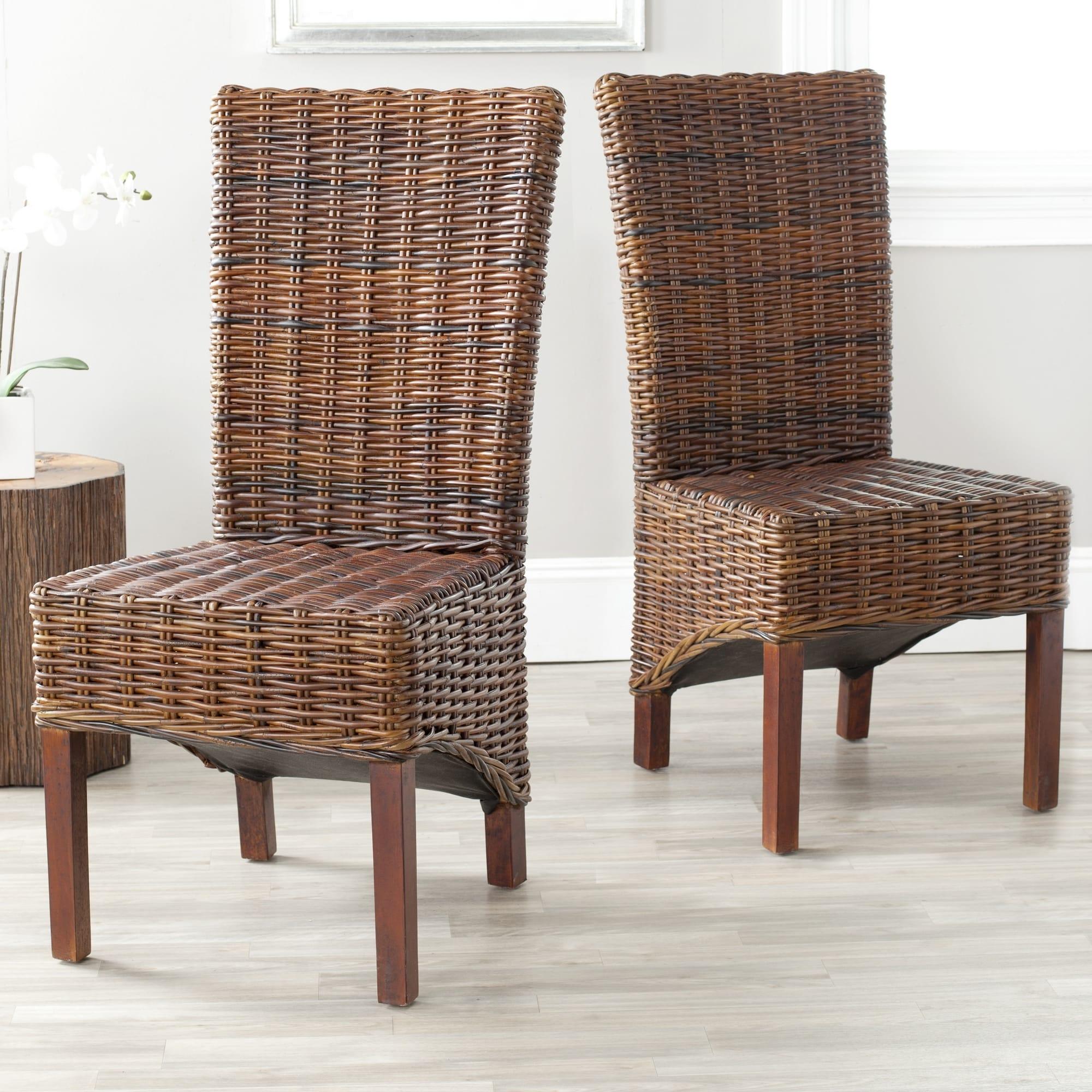 Safavieh Dining Rural Woven Ridge Dark Brown Wicker Chairs Set Of 2