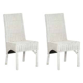 Safavieh Rural Woven Dining Sommerset White Kubu Wicker Side Chairs (Set of 2)