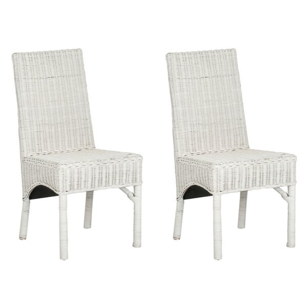 Safavieh Rural Woven Dining Sommerset White Kubu Wicker Dining Chairs (Set of 2)  sc 1 st  Overstock.com & Shop Safavieh Rural Woven Dining Sommerset White Kubu Wicker Dining ...