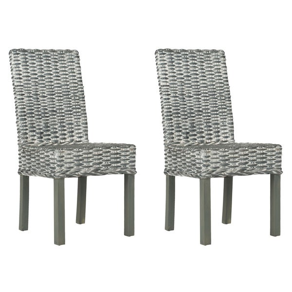 Safavieh Rural Woven Dining Wheatley Grey Washed Wicker Dining Chairs (Set  Of 2)   Free Shipping Today   Overstock.com   15052209