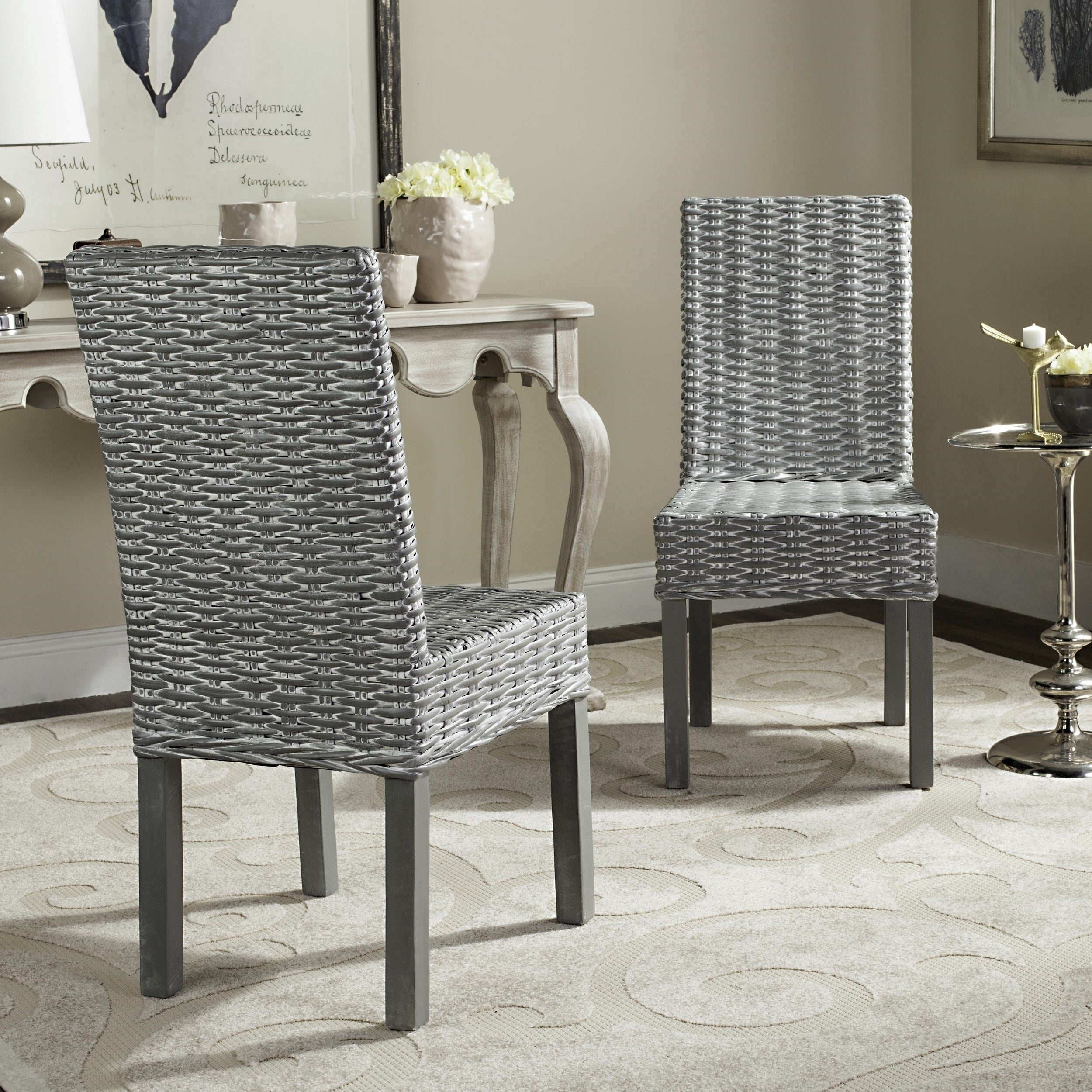 Safavieh Rural Woven Dining Wheatley Grey Washed Wicker Dining Chairs Set Of 2