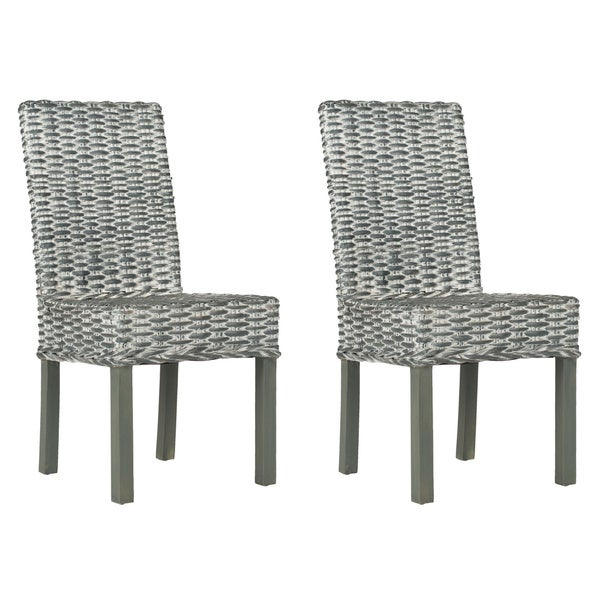 Safavieh Rural Woven Dining Wheatley Grey Washed Wicker Side Chairs (Set of 2)