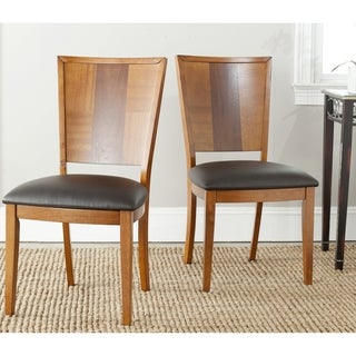 Safavieh Parsons Dining Lance Black Leather Dining Chairs (Set of 2)