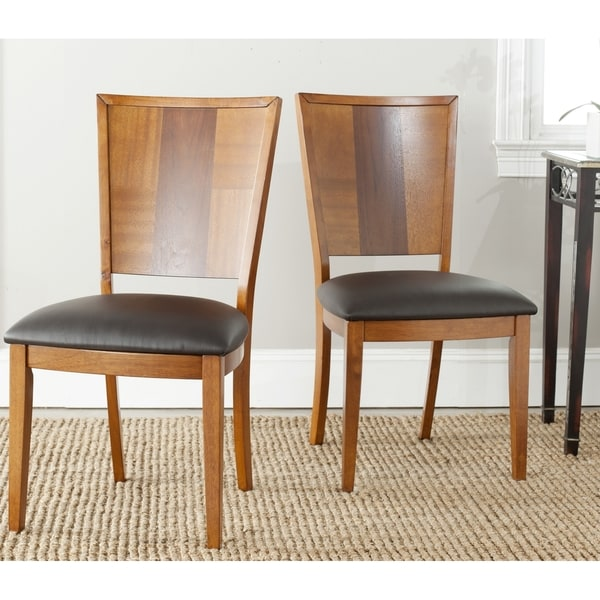Safavieh Parsons Dining Lance Black Leather Side Chairs (Set of 2)