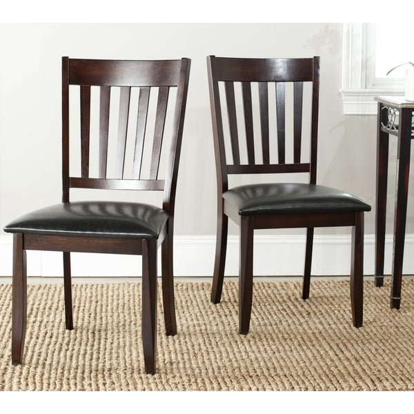 Safavieh Parsons Dining Harvey Black Leather Dining Chairs (Set of 2)