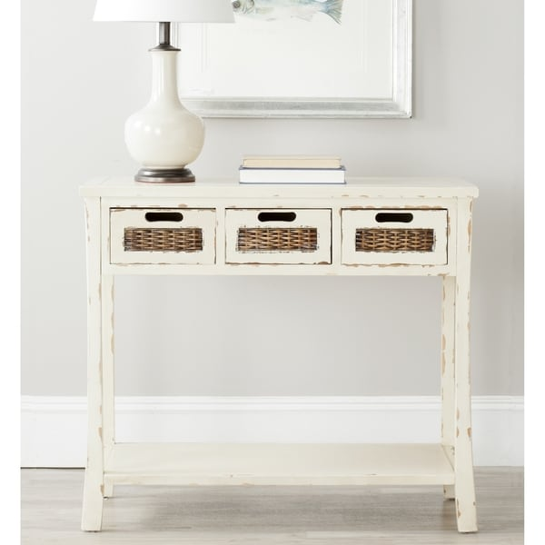 Safavieh Autumn Distressed White 3 Drawer Console Table Free Shipping Today
