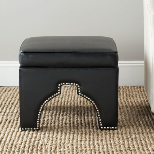 safavieh grant black leather ottoman