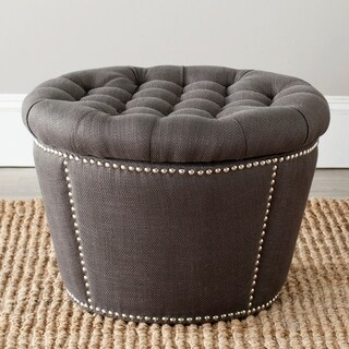 Safavieh Vanessa Charcoal Grey Velvet Storage Ottoman