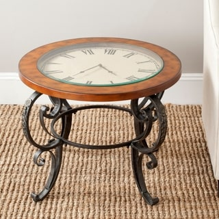 Safavieh Linda Clock Top Dark Brown Side Table