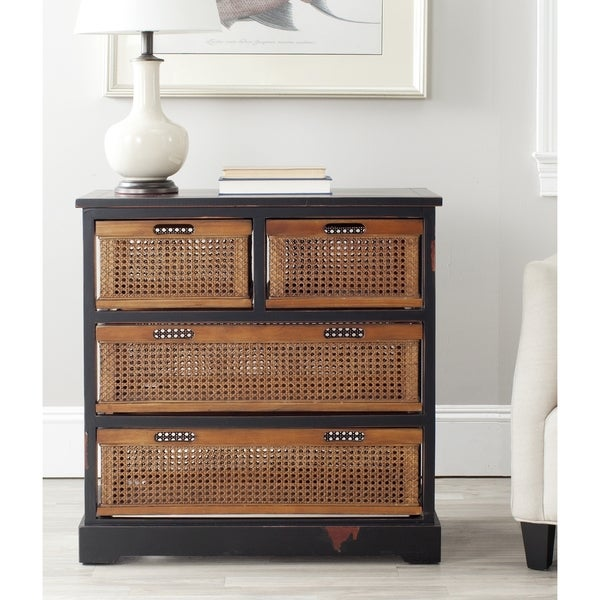Safavieh Jackson Black 4 Drawer Wicker Basket Storage Unit