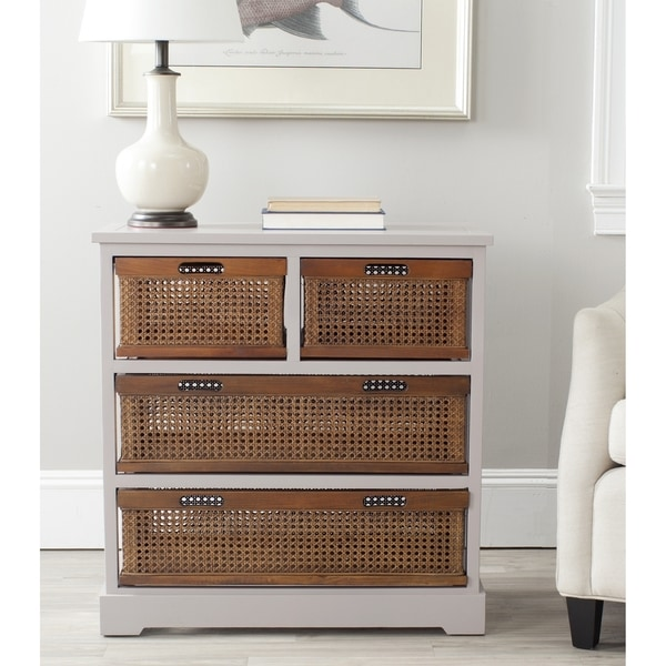 Shop Safavieh Jackson Grey 4-drawer Wicker Basket Storage