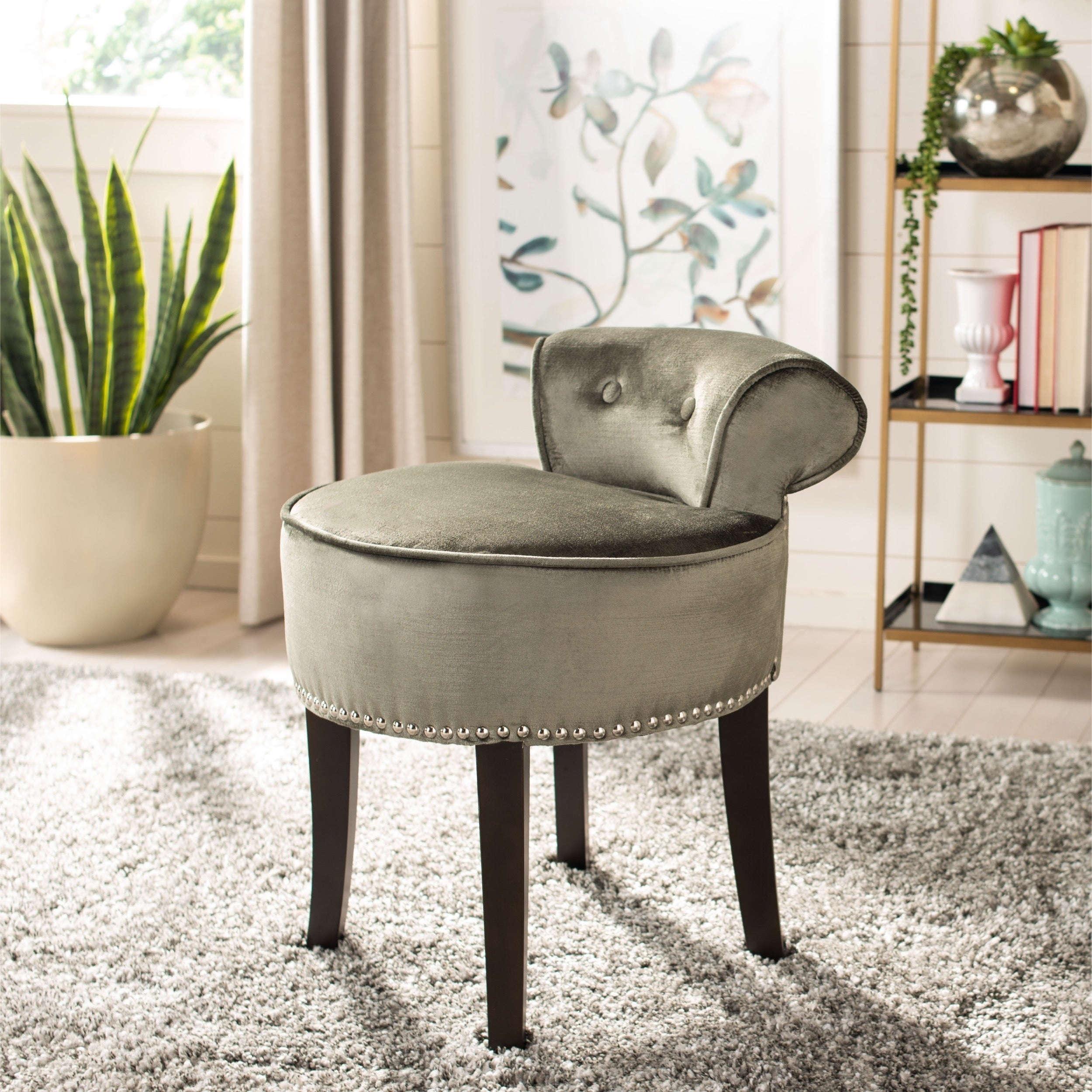 Pleasant Safavieh Georgia Pewter Vanity Stool 18W X 19D X 23H Machost Co Dining Chair Design Ideas Machostcouk