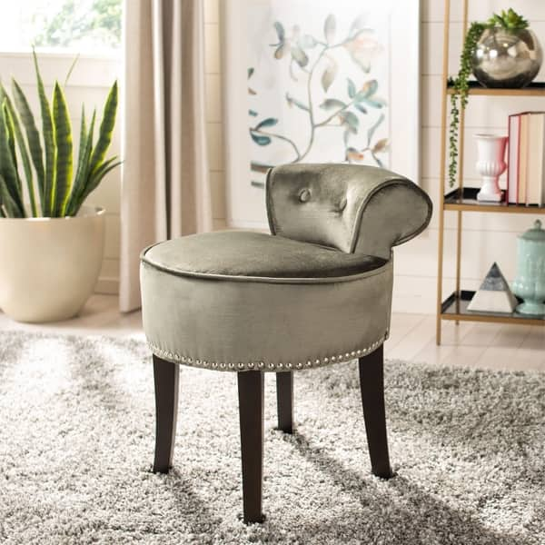 Prime Shop Safavieh Georgia Pewter Vanity Stool 18W X 19D X 23 Bralicious Painted Fabric Chair Ideas Braliciousco