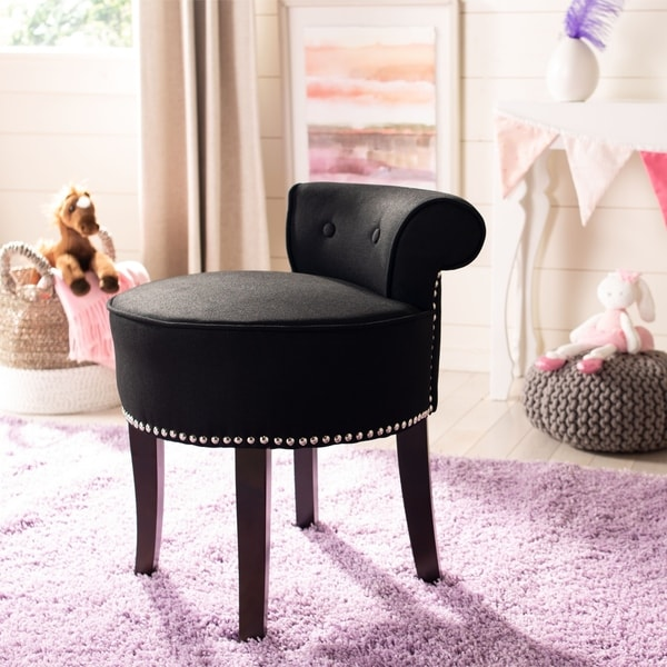 Shop Safavieh Georgia Black Vanity Stool 18 Quot W X 19 Quot D X