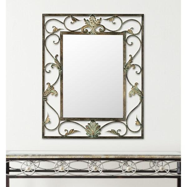Safavieh Cheryl Antiqued Brown/ Gold Scrolls Mirror