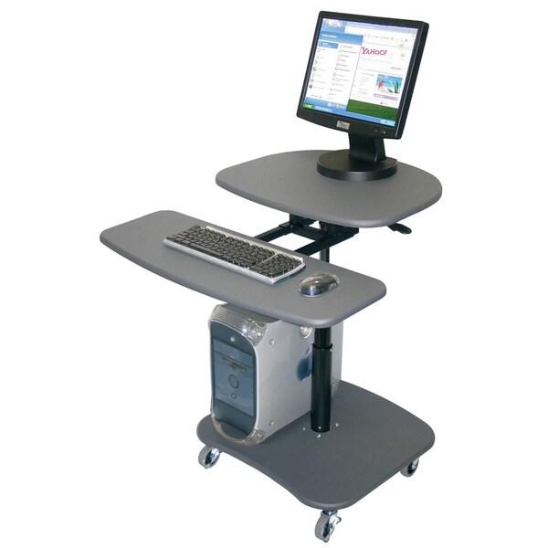 Luxor Hydraulic Adjustable Media Grey Computer Cart