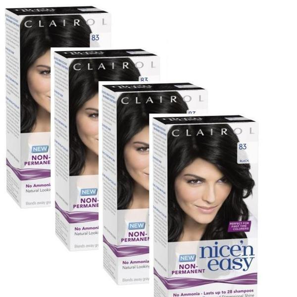 Clairol Nice 'n Easy 83 Black Non-Permanent Color (Set of 4)