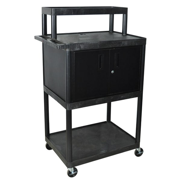 Luxor Black LTIMC-B Warehouse 4-shelf Plastic Stand Up Black Work Station