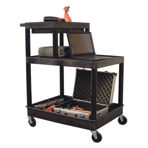 Luxor Black Three-shelf Plastic Utility Cart