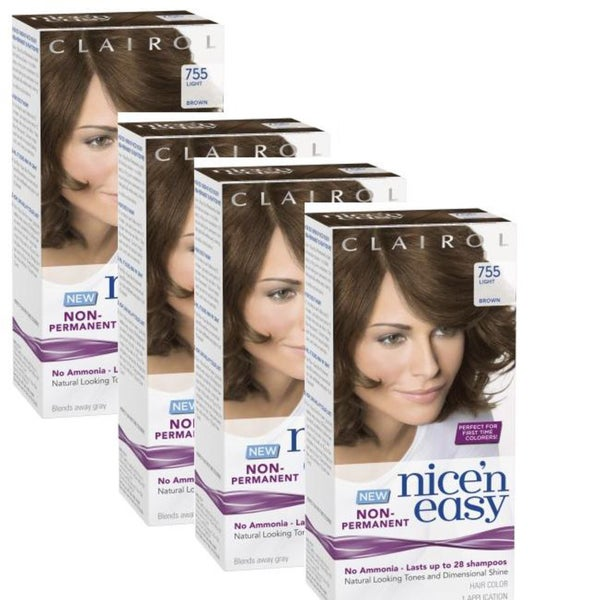 Clairol Nice 'n Easy 755 Light Brown Non-Permanent Hair Color (Pack of 4)