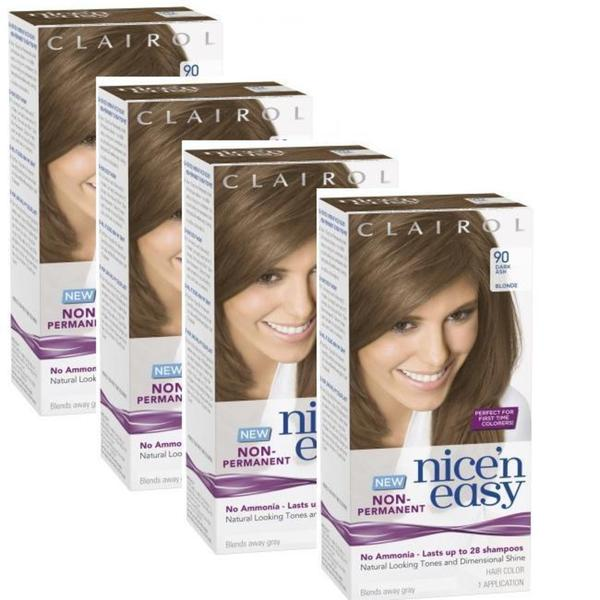 Clairol Nice'n Easy 90 Dark Ash Blonde Non-Permanent Hair Color (Pack of 4)