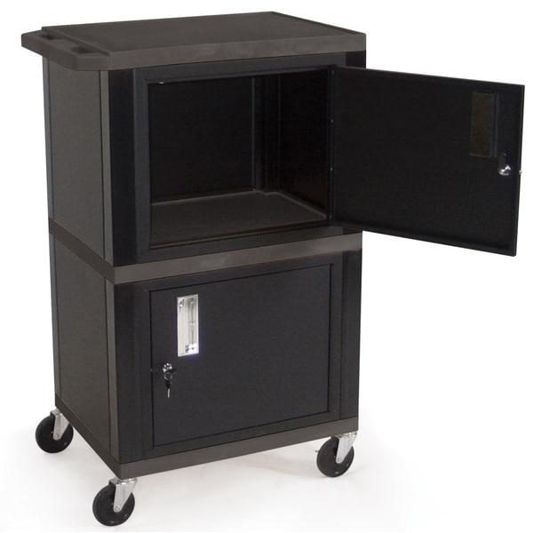 H Wilson WT50B Black Double Cabinet Utility Cart
