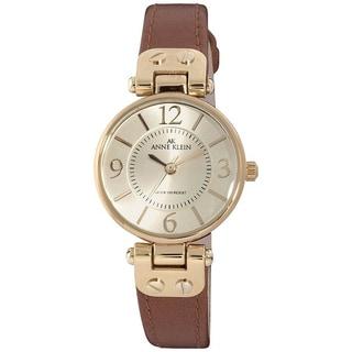 Anne Klein Women's Stainless-Steel Genuine Leather Strap Watch