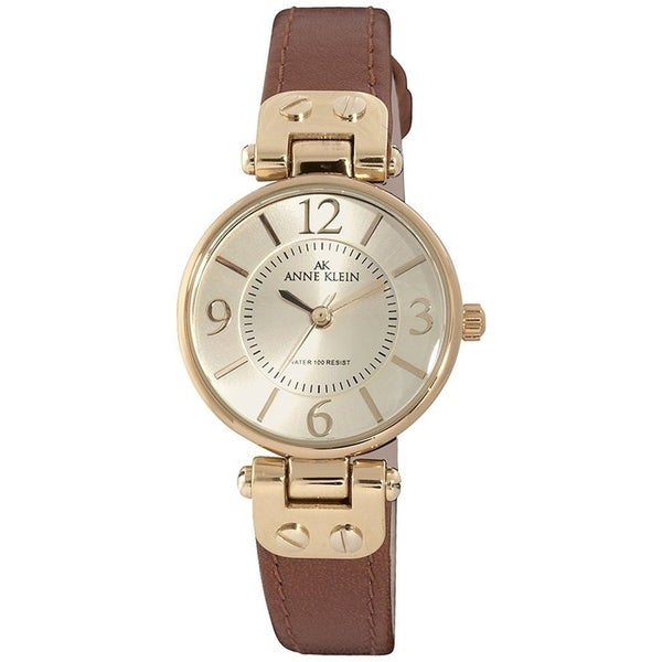 shop anne klein women 39 s stainless steel genuine leather strap watch free shipping on orders