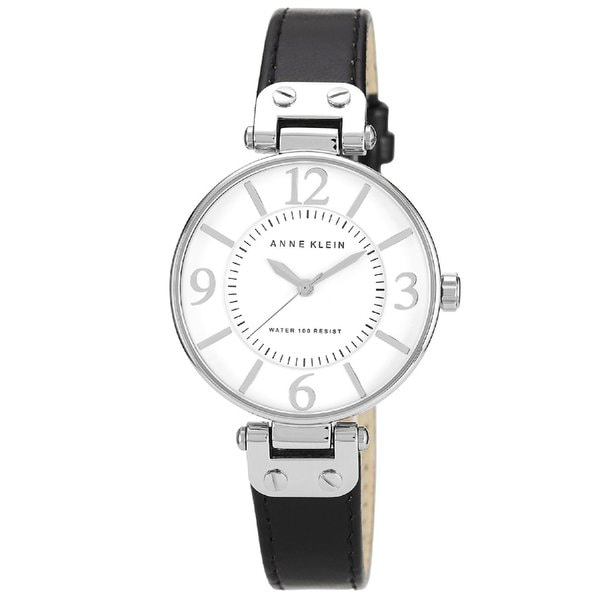 Shop anne klein black women 39 s stainless steel leather strap watch free shipping today for Anne klein leather strap