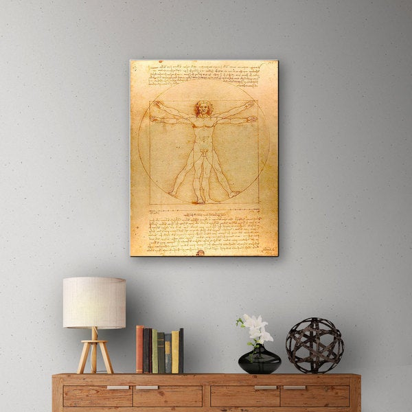 Leonardo Da Vinci 'Vitruvian Man' Gallery-wrapped Canvas - Multi