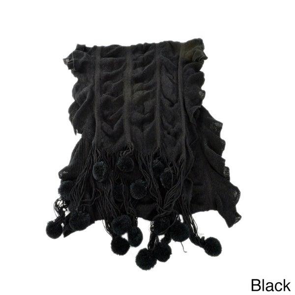 Knit Pom Pom Scarf