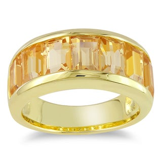 Miadora Yellow Plated Silver Citrine Ring