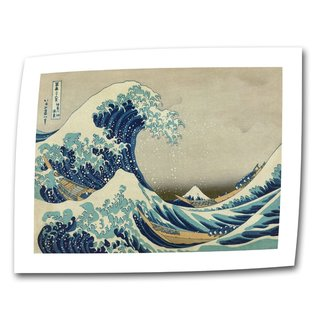 Katsushika Hokusai 'The Great Wave of Kanagawa' Flat Canvas - multi