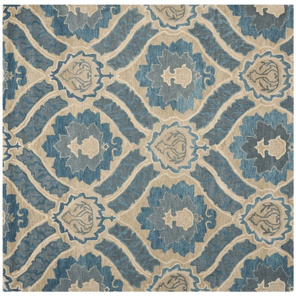 Safavieh Contemporary Handmade Wyndham Blue New Zealand Wool Rug (7' Square)