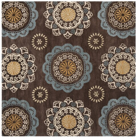 Safavieh Handmade Wyndham Dark Eggplant New Zealand Wool Rug with Ivory/Blue Floral Design - 7' x 7' Square