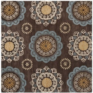 Safavieh Handmade Wyndham Dark Eggplant New Zealand Wool Rug with Ivory/Blue Floral Design (7' x 7' Square)