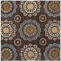 Safavieh Handmade Wyndham Dark Eggplant New Zealand Wool Rug with Ivory/Blue Floral Design - 7' Square