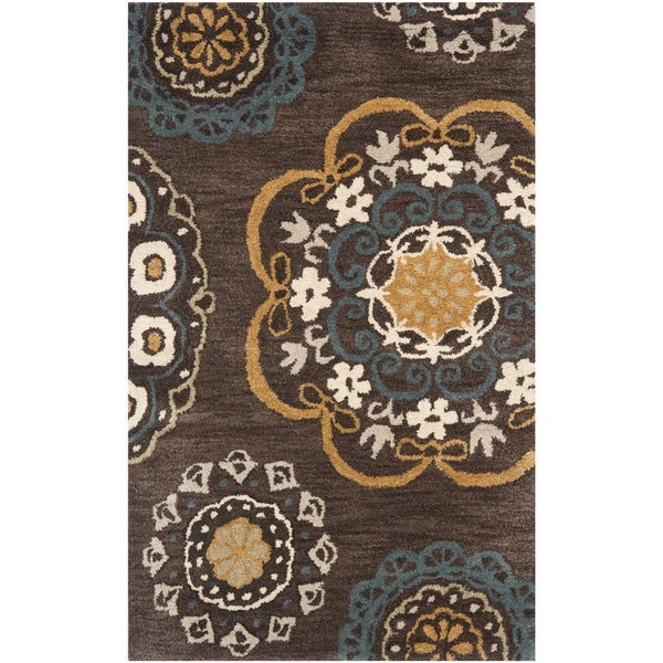 Safavieh Handmade Wyndham Dark Eggplant New Zealand Wool Rug (2' 6 x 4')