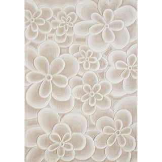 Alliyah Handmade Bleach Tan Flowers New Zealand Blend Wool Rug (10' x 12')