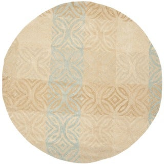 Safavieh Handmade Wyndham Contemporary Beige New Zealand Wool Rug (7' x 7' Round)