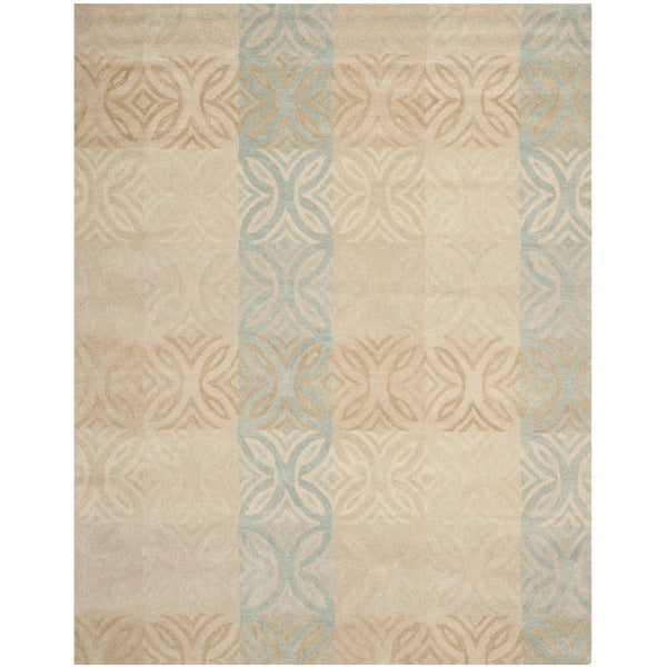 Safavieh Contemporary Handmade Wyndham Beige New Zealand Wool Rug - 8' x 10'