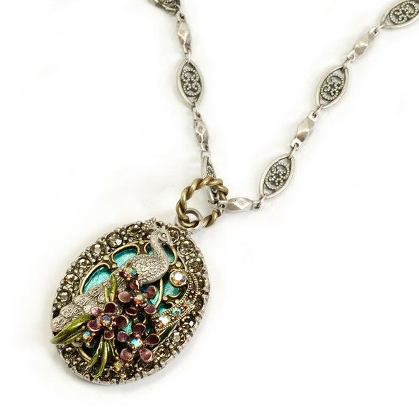 Sweet Romance Silver Peacock Tiffany Window Bird Vintage Necklace