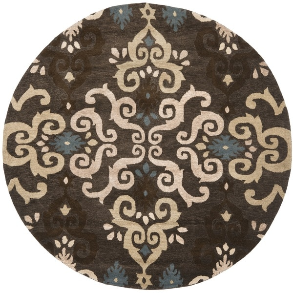 Safavieh Handmade Wyndham Brown New Zealand Wool Rug (7' Round)
