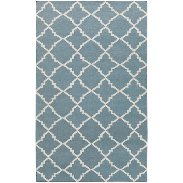Hand-woven Lattice Stormy Sea Wool Area Rug - 5' x 8'