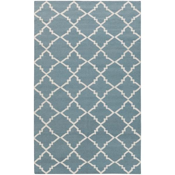 Hand-woven Lattice Stormy Sea Wool Area Rug - 5' x 8'
